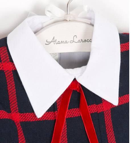 Vestido evasé cuadros marino y rojo cuello camisero de Dolce Petit | Aiana Larocca