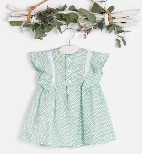 Vestido niña estampado verde volantes manga de Cocote | Aiana Larocca