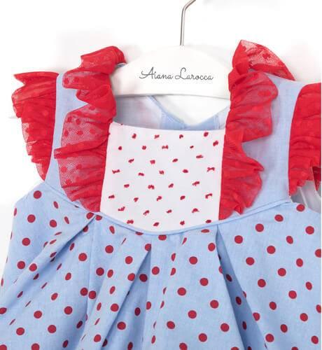 Jesusito bebe azul topitos rojo de Dolce Petit | Aiana Larocca