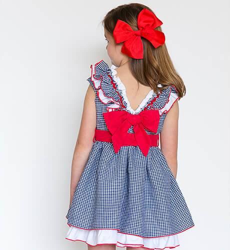 Vestido vichy marino combinado con rojo de Nekenia | Aiana Larocca
