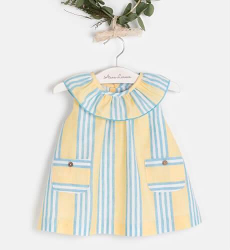 Vestido bebé a rayas amarillas de Ancar | Aiana Larocca
