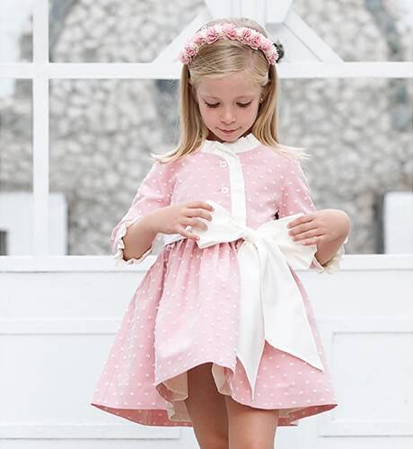 Vestido niña rosa plumeti villela | Aiana Larocca