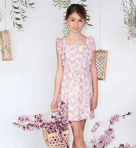 Vestido niña estampado palmeras rosas de Ancar | Aiana Larocca