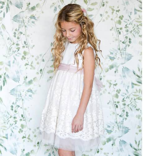 EID AL FITIR girl dress with tulle embroidery | Aiana Larocca