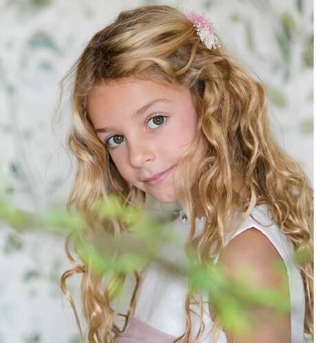 Vestido niña ceremonia lino con tul bordado dibujo | Aiana Larocca