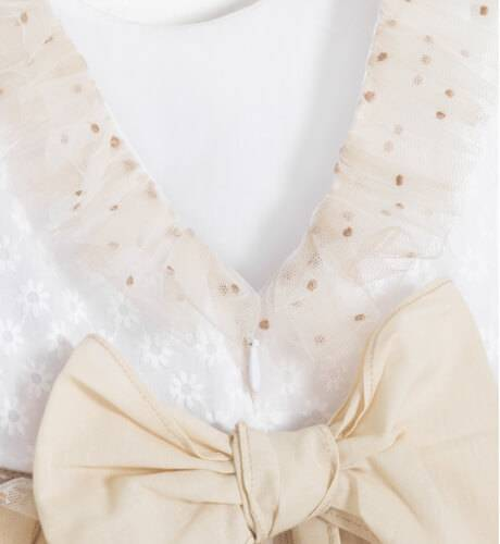 Vestido niña ceremonia cuerpo bordado & falda tul avellana de Yoedu | Aiana Larocca