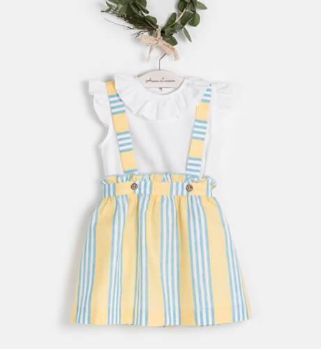 Conjunto falda rayas amarillas & blusa blanca de Ancar | Aiana Larocca