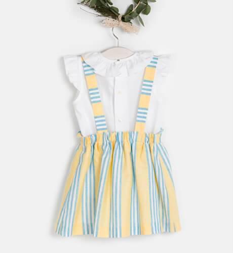 Conjunto falda rayas amarillas & blusa blanca de Ancar   Aiana Larocca