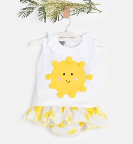Conjunto bebé camiseta y braguita soles de Mon Petit Bonbon | Aiana Larocca