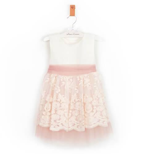 -NUEVO- Vestido niña ceremonia lino con tul bordado dibujo | Aiana Larocca