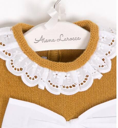 Jersey mostaza lazo blanco de Foque | Aiana Larocca