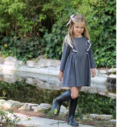 Vestido gris a rayas de Foque | Aiana Larocca