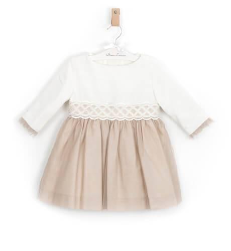 Vestido niña ceremonia lino avellana con tul Aiana Larocca   Aiana Larocca