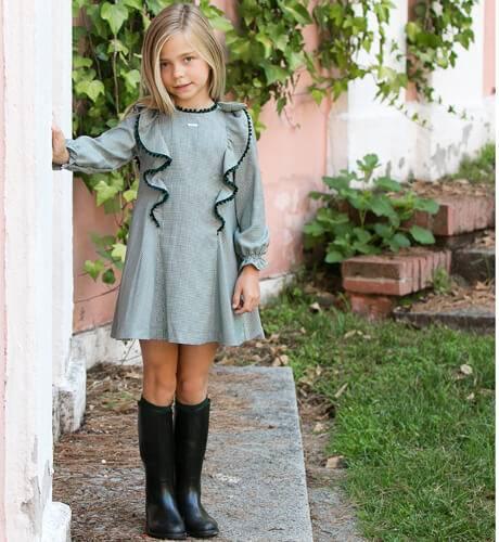 Larocca Moda Infantil Vestido De Gallo Pata Verde FoqueAiana TF1JlKc3