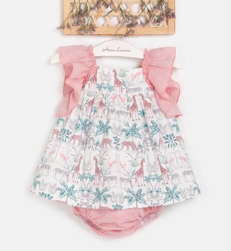Jesusito bebe niña estampado rosa de Blanca Valiente | Aiana Larocca