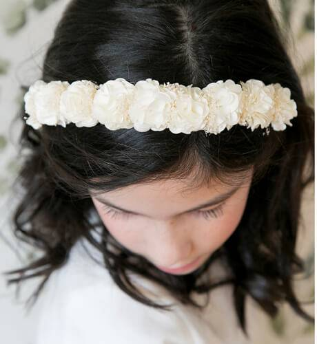 -NUEVO- Diadema flores medianas crudo de Siena | Aiana Larocca