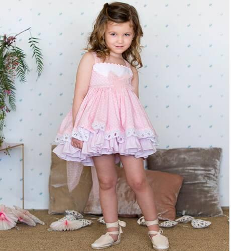 -NUEVO- Vestido niña rosa topitos Alicia de Belcoquet | Aiana Larocca
