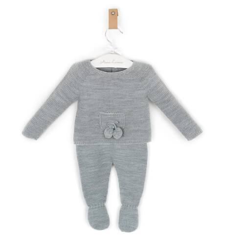 Conjunto bebé polaina jersey gris de César Blanco | Aiana Larocca