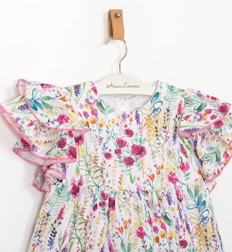 Vestido estampado rosa volantes hombro de Blanca Valiente | Aiana Larocca