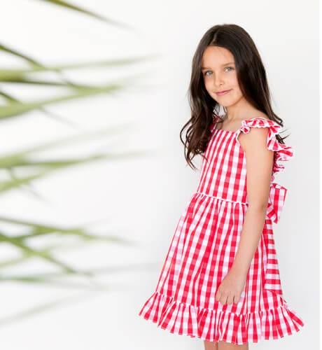 Vestido niña Vichy rojo con lazada Aiana Larocca | Aiana Larocca