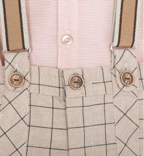 Conjunto niño pantalón a cuadros y camisa rosa de Marta y Paula | Aiana Larocca
