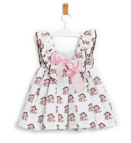 Vestido niña estampado monitos de Mon Petit Bonbon   Aiana Larocca