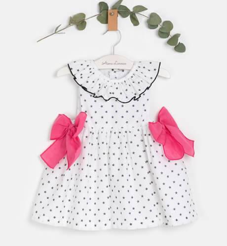 Vestido niña blanco estrellas negras & lazada fresa de Mon Petit Bonbon | Aiana Larocca