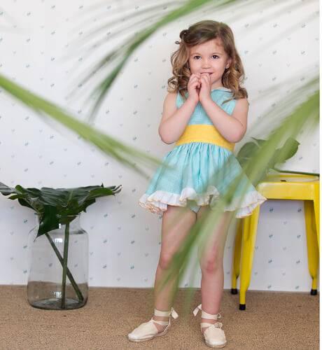 Vestido niña vichy verde lazada amarilla de Clemencita | Aiana Larocca