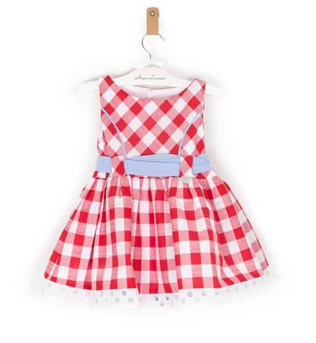 -NUEVO- Vestido niña cuadros vichy rojo de Marta y Paula | Aiana Larocca