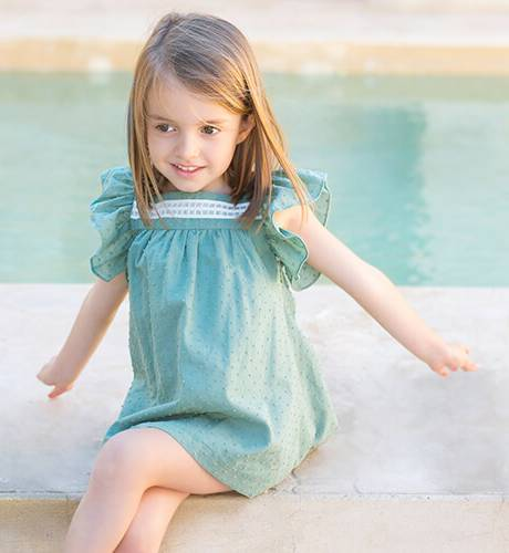 Vestido niña plumeti verde lazo espalda de Eve Children | Aiana Larocca