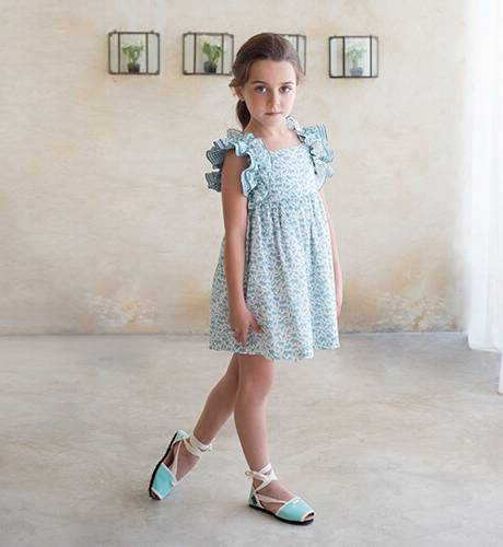 Vestido niña estampado animales verde agua de Eve Children | Aiana Larocca