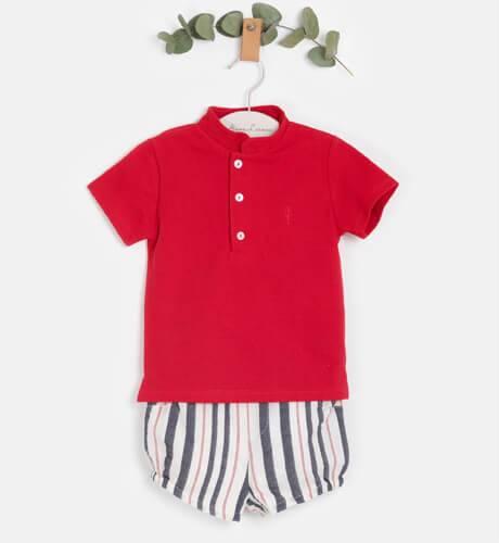 Conjunto bebé niño polo rojo y pantalón de Valentina Bebés | Aiana Larocca