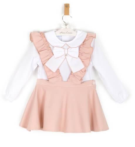 Conjunto niña falda tirantes rosa y blusa blanca de Foque | Aiana Larocca
