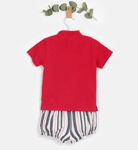 Conjunto bebé niño polo rojo y pantalón de Valentina Bebés   Aiana Larocca