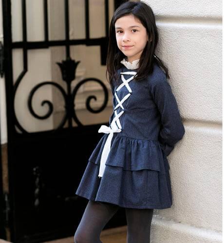 Vestido niña microvichy marino cruzado de Rochy | Aiana Larocca