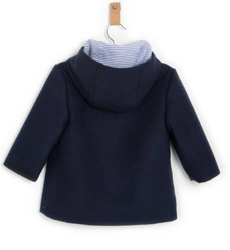 Abrigo paño marino con capucha de Yoedu | Aiana Larocca