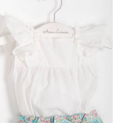 Conjunto bebe pololo estampado flores & blusa plumeti Valentina Bebés | Aiana Larocca