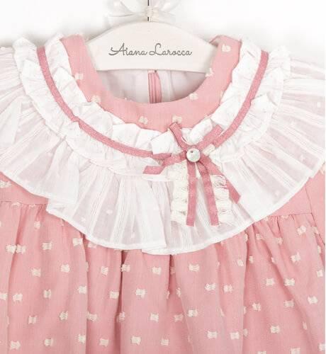 Vestido niña viella plumeti rosa de Marta y Paula | Aiana Larocca