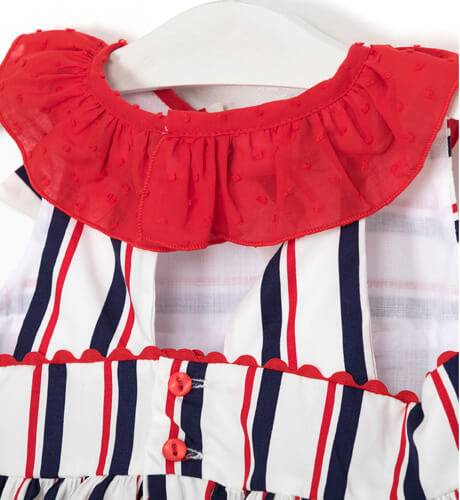 Vestido niña a rayas volante rojo de Blanca Valiente   Aiana Larocca