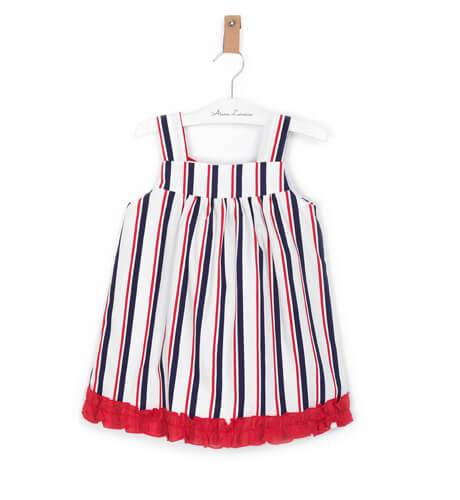 Vestido niña tirantes a rayas lazada roja de Blanca Valiente | Aiana Larocca