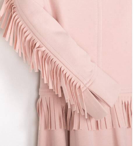 Vestido rosa flecos de Rochy | Aiana Larocca