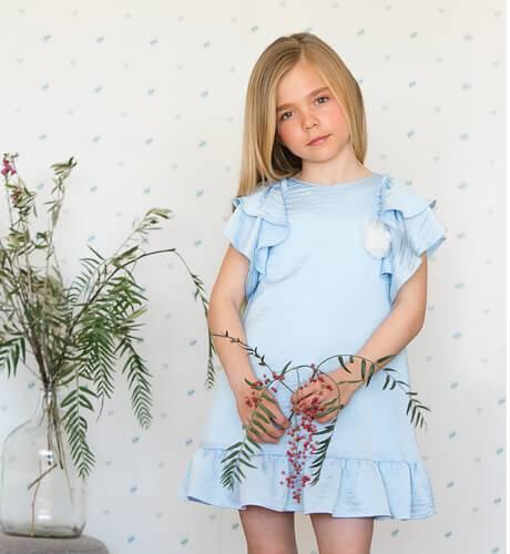 Vestido niña volantes azul de Foque | Aiana Larocca
