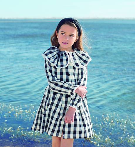Vestido niña cuadros negros colección Brandy de Eve Children | Aiana Larocca