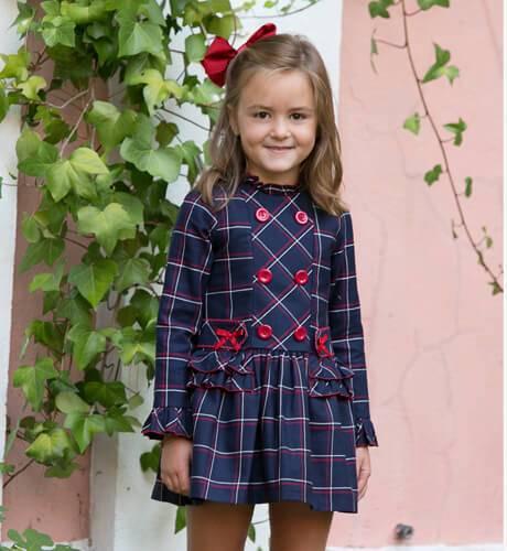 Vestido a cuadros marino botones rojos de Loan Bor | Aiana Larocca