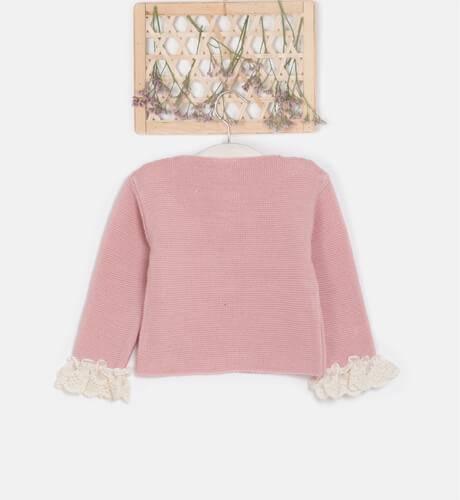 Chaqueta larga rosa & detalle puntilla y lazo de Valentina Bebés | Aiana Larocca