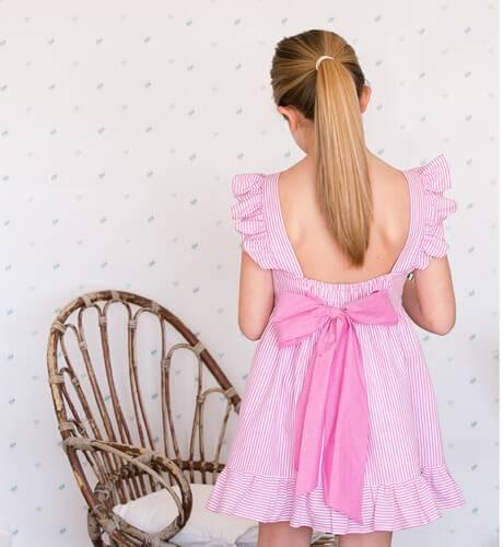 Vestido niña a rayas rosa con lazada | Aiana Larocca