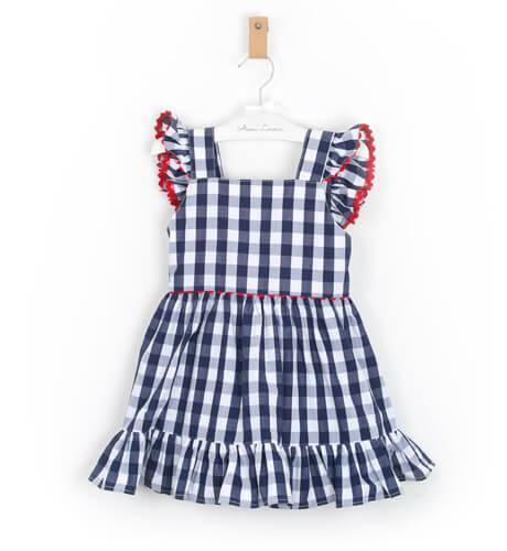 Vestido niña Vichy marino con lazada Aiana Larocca | Aiana Larocca