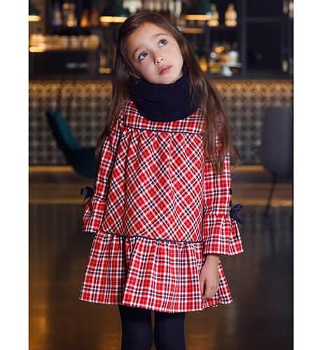 Vestido niña cuadros escocés con cuello borreguito de Coco Acqua | Aiana Larocca