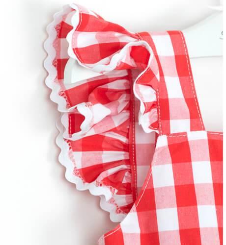 Vestido cuadros vichy rojo nina