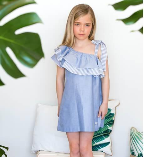 Vestido niña volante asimétrico Eve Children | Aiana Larocca
